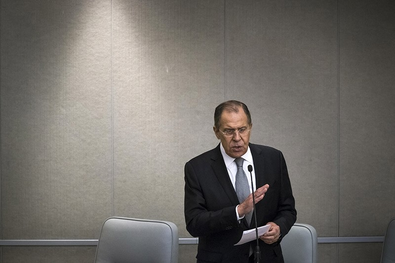 Russian Foreign Minister Sergey Lavrov gestures as he answers a question at the State Duma, lower parliament house, in Moscow, Russia, Wednesday, Jan. 25, 2017. (AP Photo)