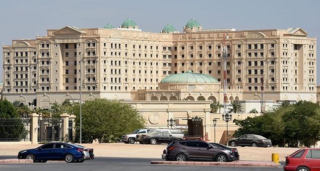A picture taken Nov. 5, 2017, in Riyadh shows a general view of the closed Ritz Karlton hotel in Riyadh. (AFP Photo)
