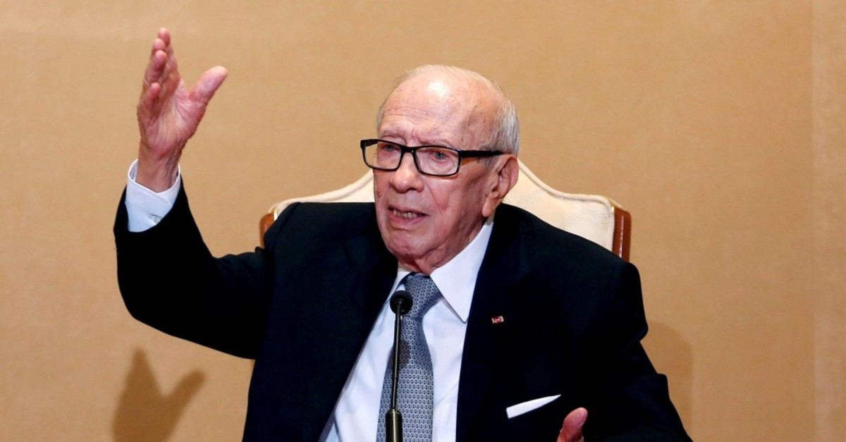Tunisian President Beji Caid Essebsi holds a news conference at the Carthage Palace, Tunis, Oct. 25, 2018.