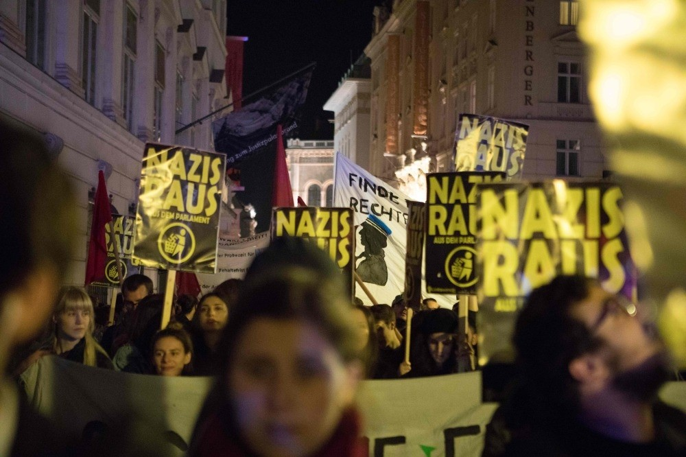 Demonstrators protest against the far-right Freedom Party of Austria following the elections results, Vienna, Oct. 15.
