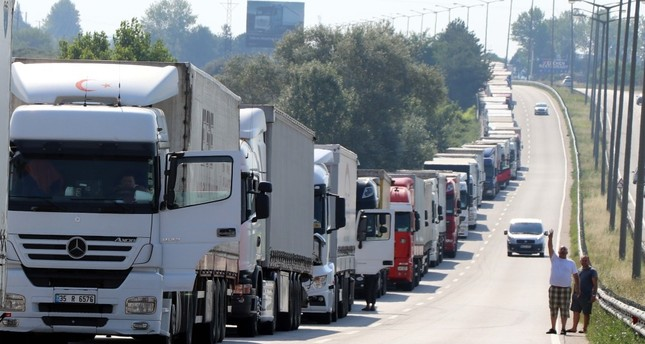 A view of the 9-km queue of Turkish trucks at the Kapıkule Border Gate, waiting for passage to carry export goods to Europe.