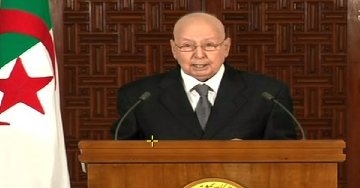 An image grab from the Algerian national television chanel on July 3, 2019, shows Algerian interim President Abdelkader Bensalah addressing the nation. (AFP Photo)