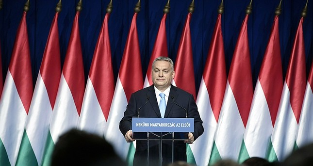 Hungarian Prime Minister Viktor Orban delivers his annual State of Hungary speech in Budapest, Hungary, Sunday, Feb. 10, 2019. (AP Photo)