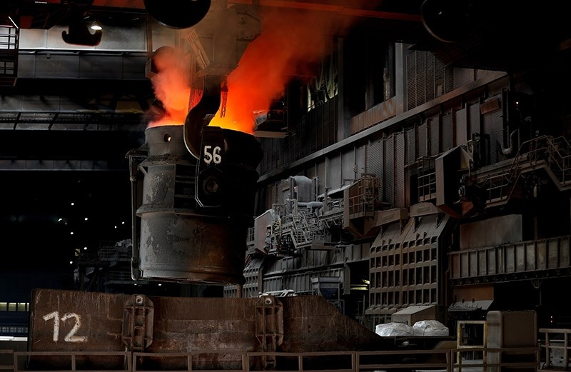 Crude steel is melted in the steel plant of German corporation ThyssenKrupp in Duisburg, Germany, 07 April 2017. (EPA Photo)