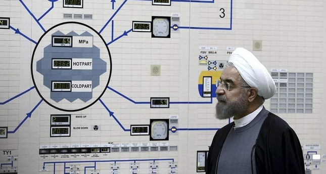 Iranian President Hassan Rouhani visits the Bushehr nuclear power plant, Bushehr, Jan. 13, 2015. (AP Photo)