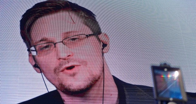 US former CIA employee and whistle-blower Edward Snowden delivers a speech by video conference during the debate at the Estoril Conferences - Global Challenges Local Answers held at Estoril, outskirts of Lisbon, on May 30, 2017. (AFP Photo)