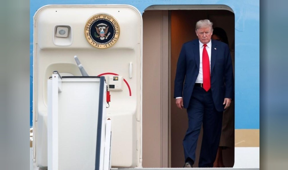 U.S. President Donald Trump arrive aboard Air Force One at Brussels Military Airport in Melsbroek, Belgium July 10, 2018. (Reuters Photo)
