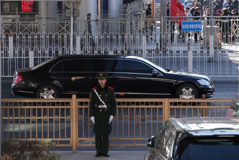 A sedan which is believed to carry North Korean leader Kim Jong Un leaves a train station with a convoy in Beijing, China, Tuesday, Jan. 8, 2019 (AP Photo)