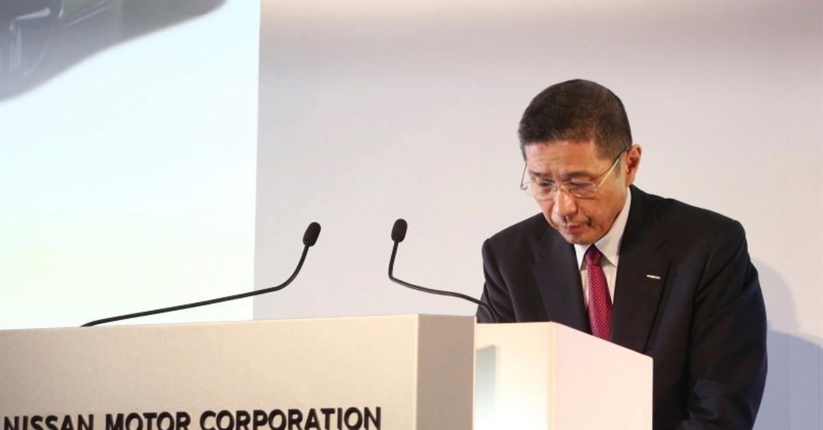 In this May 14, 2019, file photo, Nissan Motor Co. Chief Executive Hiroto Saikawa bows during a press conference at its Global Headquarters in Yokohama, near Tokyo. (AP Photo)