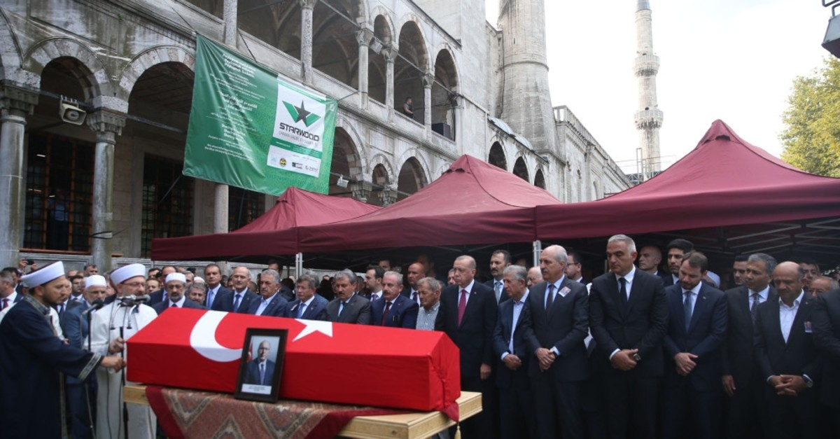 President Recep Tayyip Erdou011fan and other dignitaries attended funeral prayers for Dursun in Istanbul, Aug. 20, 2019.