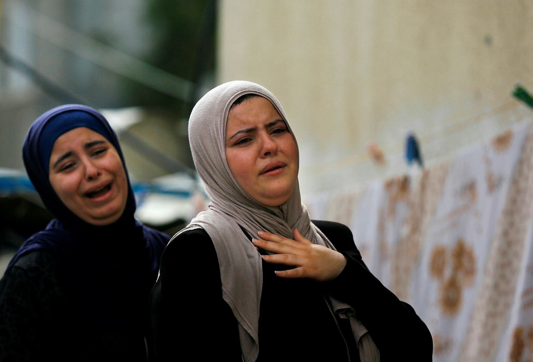 Mourning relatives of a Palestinian who was killed during clashes on the Gaza-Israel border, Gaza City, April 5.