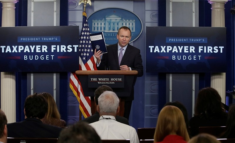 Office of Management and Budget Director Mick Mulvaney holds a briefing on President Trump's FY2018 proposed budget in the press briefing room at the White House in Washington, U.S., May 23, 2017 (Reuters Photo)