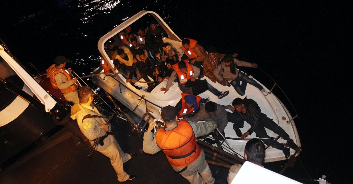 Coast Guard intercepts 30 illegal migrants aboard a speedboat off the coast of Antalya, April 14, 2017. Migrants, aided by human smugglers, pay high fees for potentially fatal journeys.