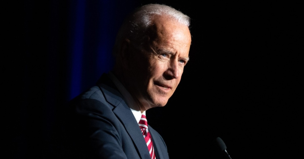 In this file photo taken on March 16, 2019, former US Vice President Joe Biden speaks during the First State Democratic Dinner in Dover, Delaware. (AFP Photo)
