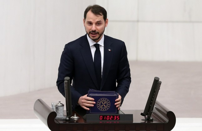 Treasury and Finance Minister Berat Albayrak speaks during his budget presentation at Parliament, yesterday.