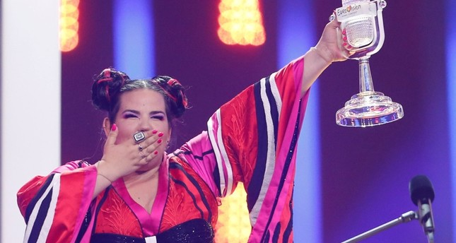Israel's Netta Barzilai reacts as she wins the Grand Final of Eurovision Song Contest 2018 at the Altice Arena hall in Lisbon, Portugal, May 12, 2018. (Reuters Photo)