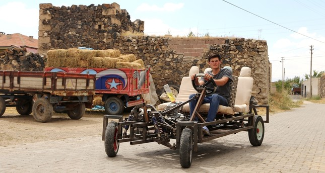 Turkish man builds own car for daily chores