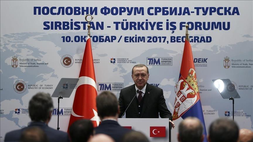 Turkish President Recep Tayyip Erdogan speaks at Turkey - Serbia Business Forum in Belgrade, Spain on October 10, 2017. (AA Photo)
