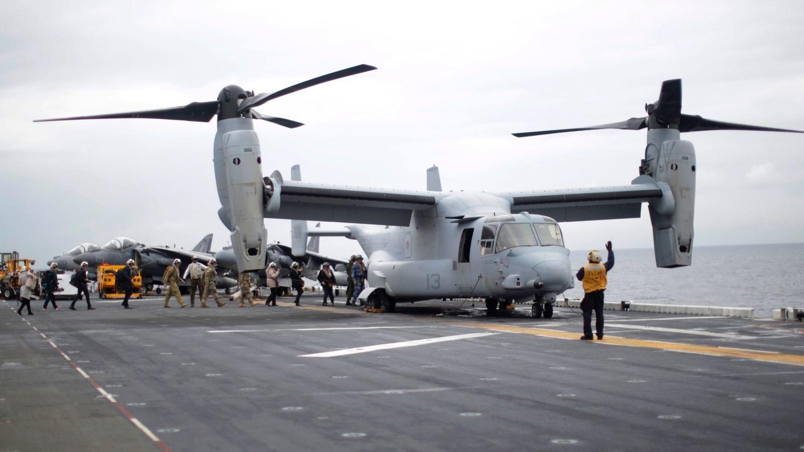 A Marines MV-22B Osprey on the deck of the USS Bonhomme Richard assault ship off Sydney on June 29. (AFP Photo)