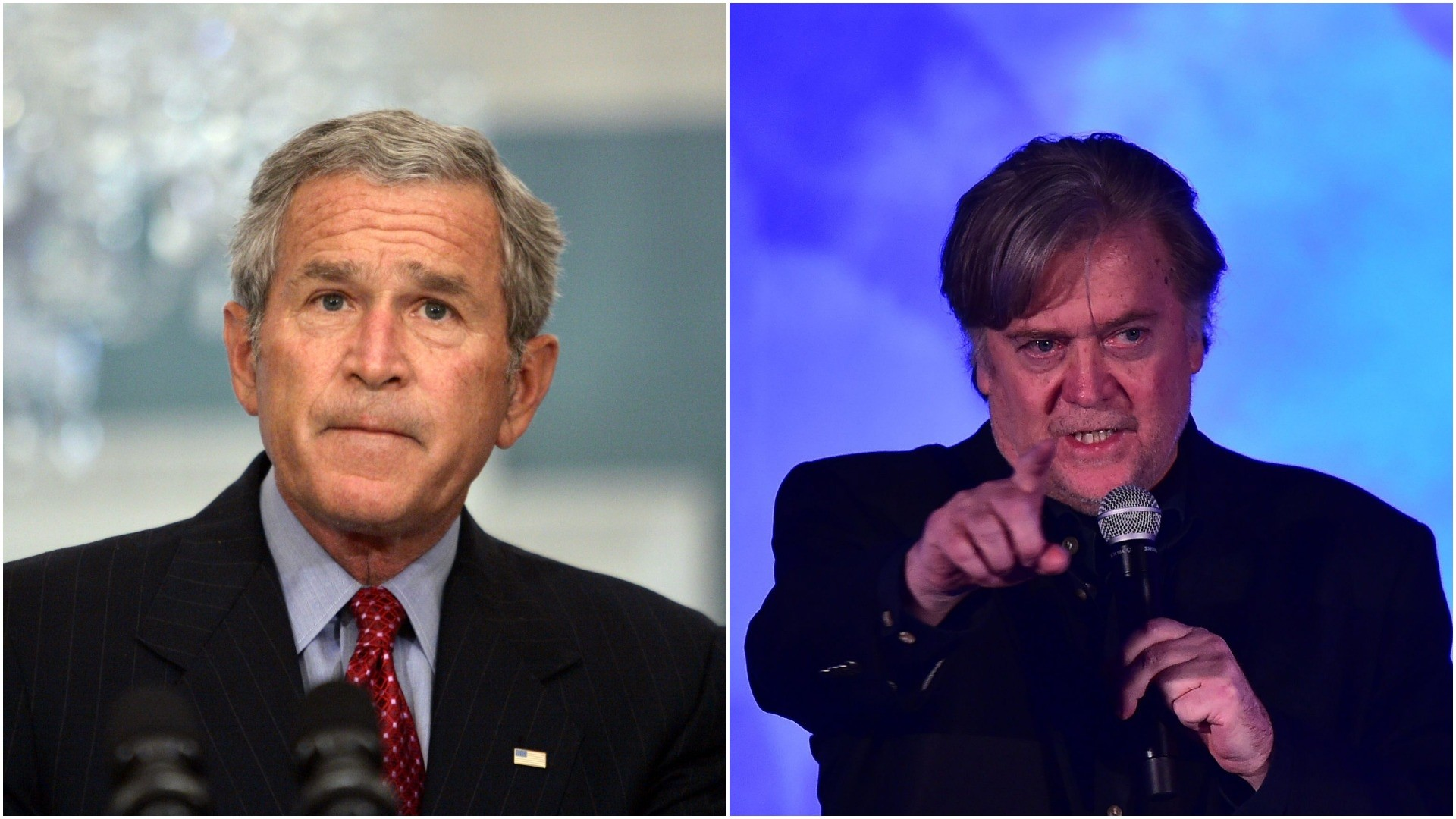Former White House adviser Steve Bannon (R) says there has not been a more destructive presidency than George W. Bush's (L). (AP/ AFP Photos)