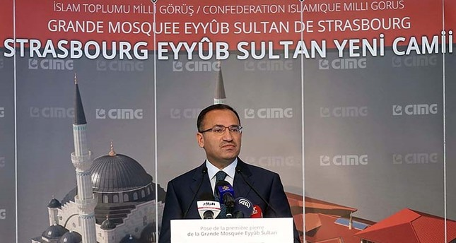 Deputy Prime Minister Bekir Bozdağ speaking at the groundbreaking ceremony of Eyyub Sultan Mosque in Strasbourg, France on Sunday, Oct. 15, 2017 (AA Photo)
