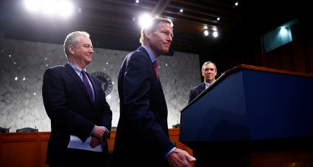 Sen. Richard Blumenthal, Sen. Jeff Merkley and Sen. Christopher Van Hollen hold a press conference in opposition of Neil Gorsuch. (REUTERS Photo)