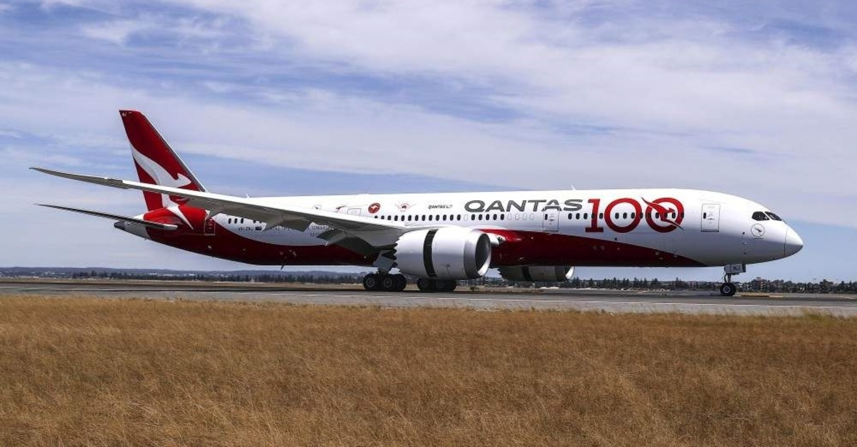 In this photo provided by Australian airliner Qantas, the Boeing 787-9 Dreamliner taxies after landing at Sydney airport in Sydney, Friday, Nov. 15, 2019. (Qantas via AP)