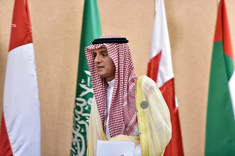 Saudi Foreign Minister Adel al-Jubeir arrives for a press conference at the Diriya Palace in the Saudi capital Riyadh during the Gulf Cooperation Council (GCC) summit on Dec. 9, 2018. (AFP Photo)