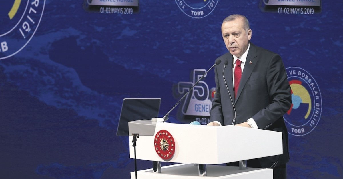 President Recep Tayyip Erdou011fan speaks at the general assembly of the Turkish Union of Chambers and Commodity Exchanges (TOBB) in the capital Ankara, May 2, 2019.