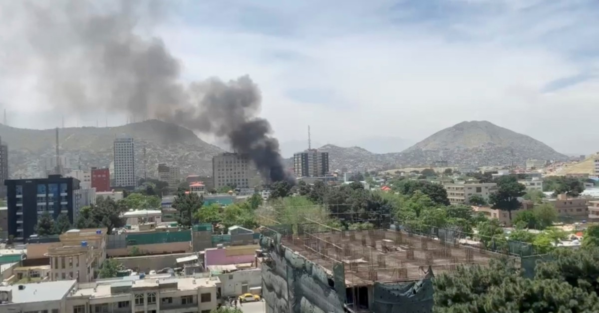 Smoke rises from the site of a blast in Kabul, Afghanistan May 8, 2019, in this still image taken from a video obtained by social media. (Reuters Photo)