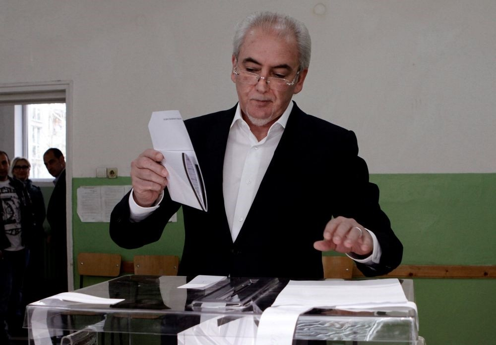 Lyutvi Mestan, leader of the DOST party, casts his ballot in Sofia, Bulgaria on March 26.