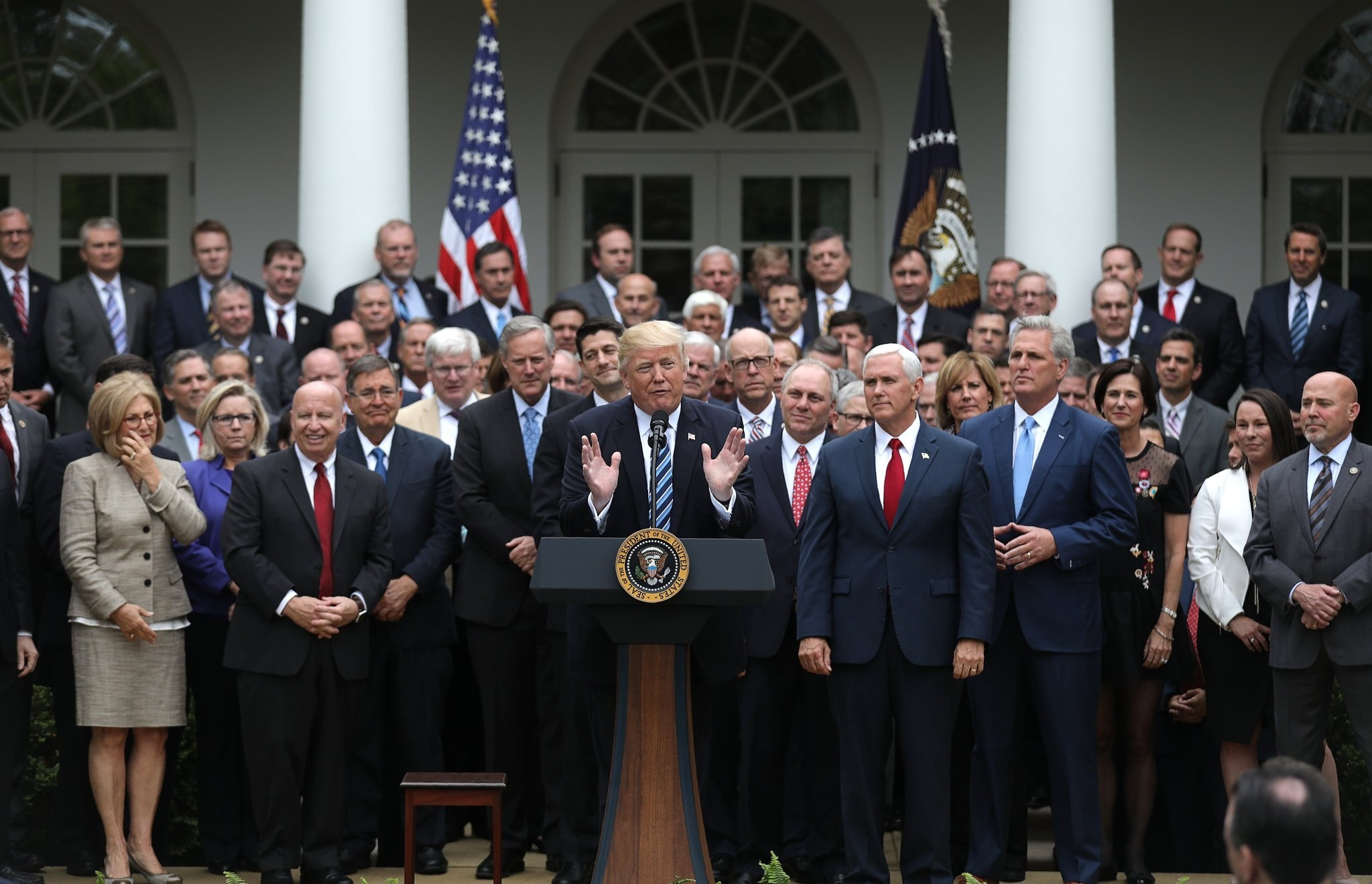 Donald Trump gathering with Congressional Republicans in Rose Garden of White House after House of Representatives approved American Healthcare Act,to repeal major parts of Obamacare and replace it with Republican healthcare plan, Washington, May 4.
