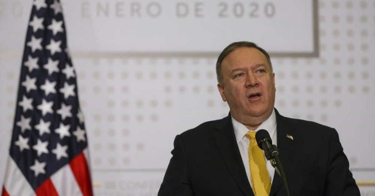 U.S. Secretary of State Mike Pompeo addresses the opening of a regional counter-terrorism meeting at the police academy in Bogota, Colombia, Monday, Jan. 20, 2020. (AP Photo)