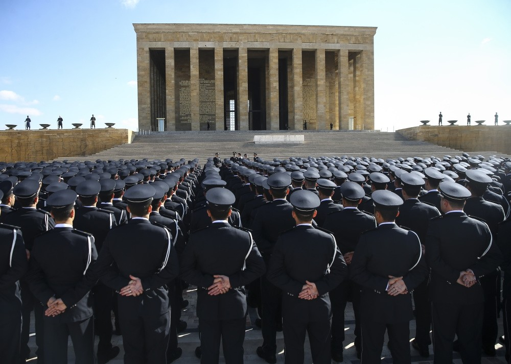 Officers attend a ceremony to mark the anniversary of the foundation of the police directorate. FETu00d6 is accused of having a large number of infiltrators in law enforcement.