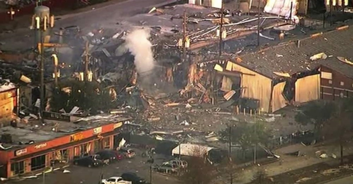 This aerial photo taken from video provided by KTRK-TV shows damage to buildings after an explosion in Houston on Friday, Jan. 24, 2020. (KTRK-TV via AP Photo)