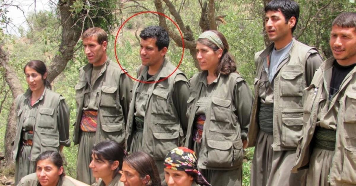 PKK-linked Peopleu2019s Protection Units (YPG) terrorist leader Ferhad Abdi u015eahin, also known as Mazloum Kobani seen in this photo among terrorist members. (IHA Photo)