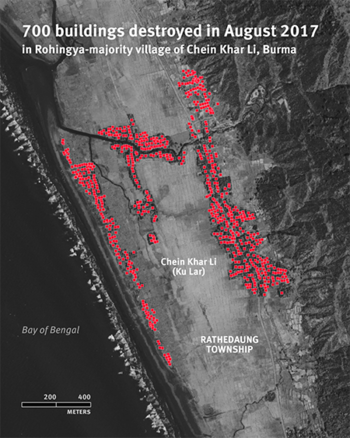 Map locating 700 buildings destroyed in August 2017 in the Rohingya-majority village of Chein Khar Li, Myanmar. (Courtesy of HRW)