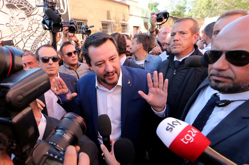 Italian Interior Minister Matteo Salvini speaks to reporters in Rome, October 24, 2018. (Reuters Photo)