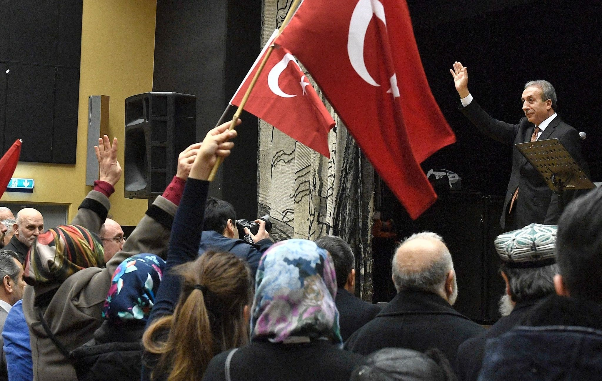 Turkish politician Mehmet Mehdi Eker attends a campaign meeting in Fittja, Sweden, on March 12, 2017.  (AFP PHOTO)