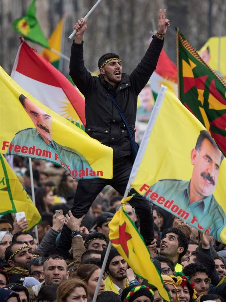 The PKK sympathizers are carrying images of the terrorist organization's jailed head Abdullah u00d6calan on Saturday, an image that already was banned by the German government.