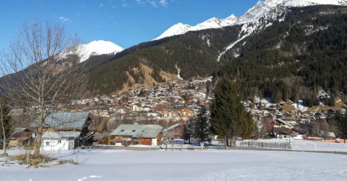 This picture taken on Feb. 8, 2020, shows a general view of Les Contamines-Montjoie, near Mont Blanc in the French Alps, where five British nationals including a child have tested positive for the new coronavirus in France. (AFP Photo)