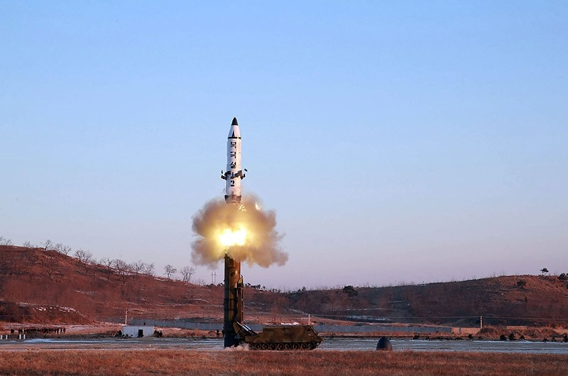 This photo released on February 13 by North Korea's official Korean Central News Agency (KCNA) shows the launch of a surface-to-surface medium long-range ballistic missile Pukguksong-2 at an undisclosed location. (AFP Photo)