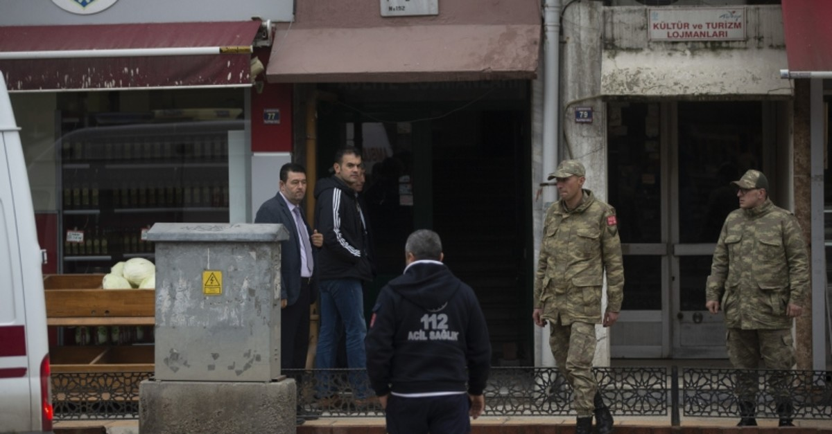 Edirne Gouverneur Ekrem Canalp extending his condolences to the spouse of one of the killed soldiers. (AA Photo)