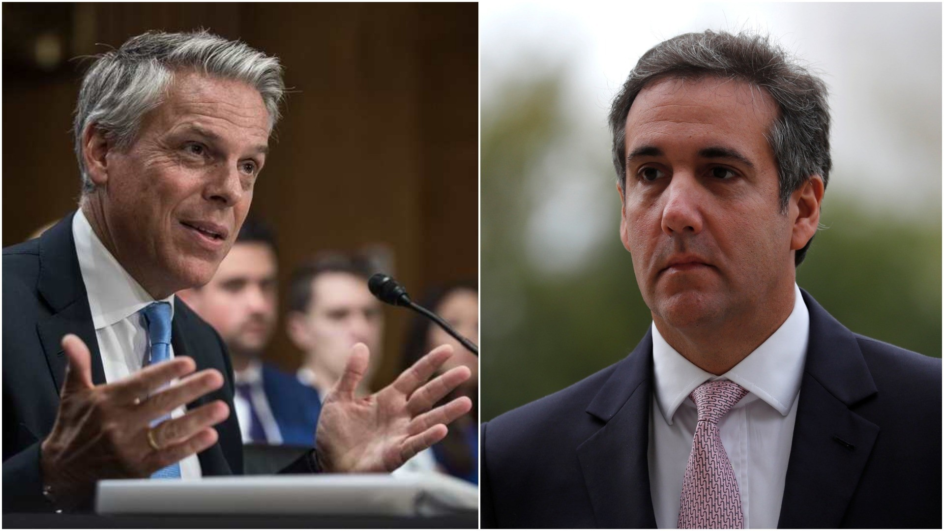 Photo shows former Utah governor Jon Huntsman (L) and Trump's lawyer Michael Cohen (R). (AP and REUTERS Photos)