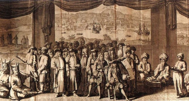 A drawing of an Ottoman court with both Ottoman and Europe.