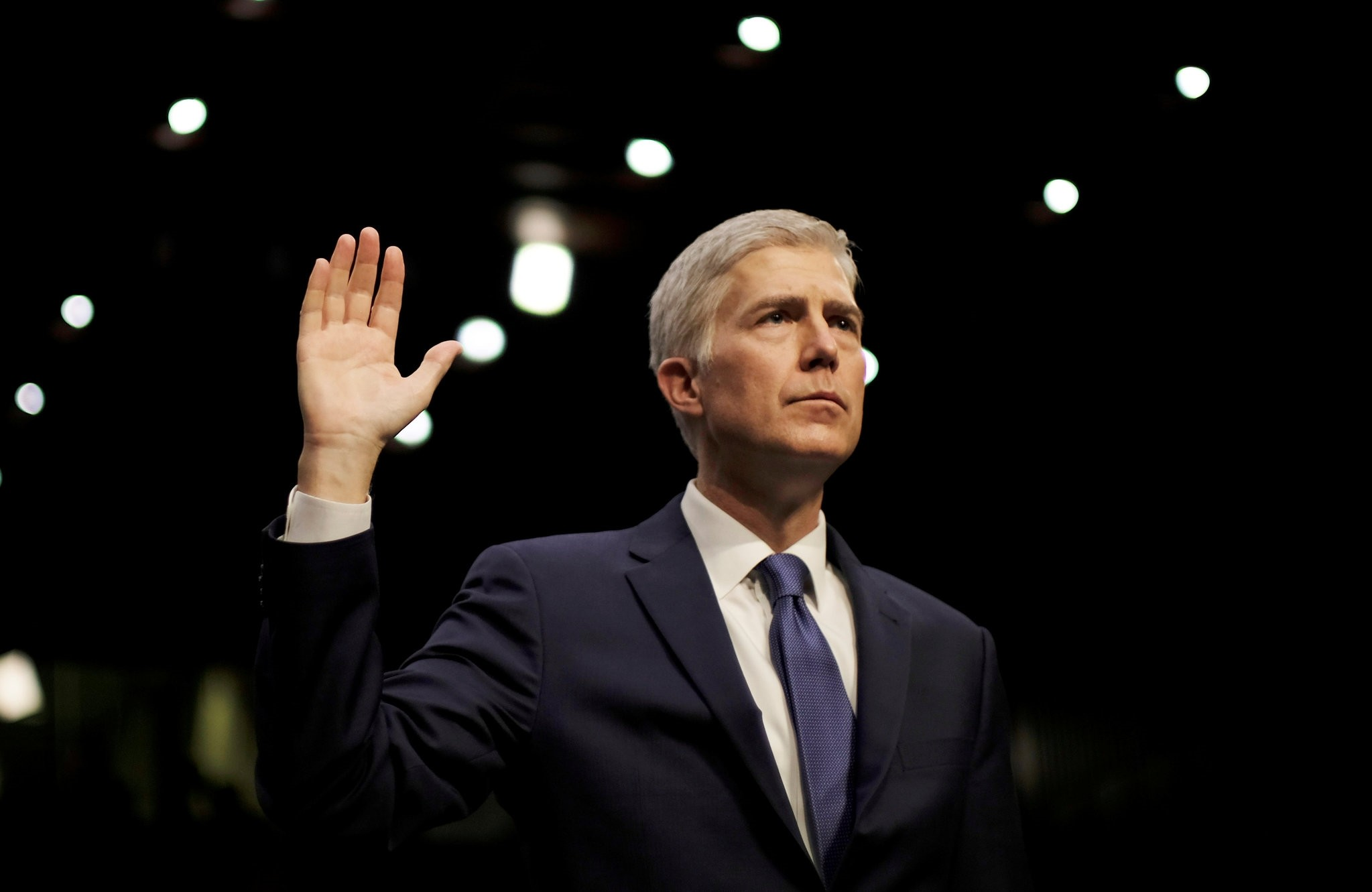 U.S. Supreme Court nominee judge Neil Gorsuch is sworn in to testify at his Senate Judiciary Committee confirmation hearing. (Reuters Photo)