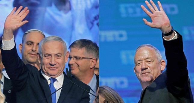 This combination of pictures created on September 18, 2019 shows Israeli PM Benjamin Netanyahu L of Likud party, and Benny Gantz of Blue and White political alliance, waving to supporters in Tel Aviv early on September 18, 2019. AFP Photo