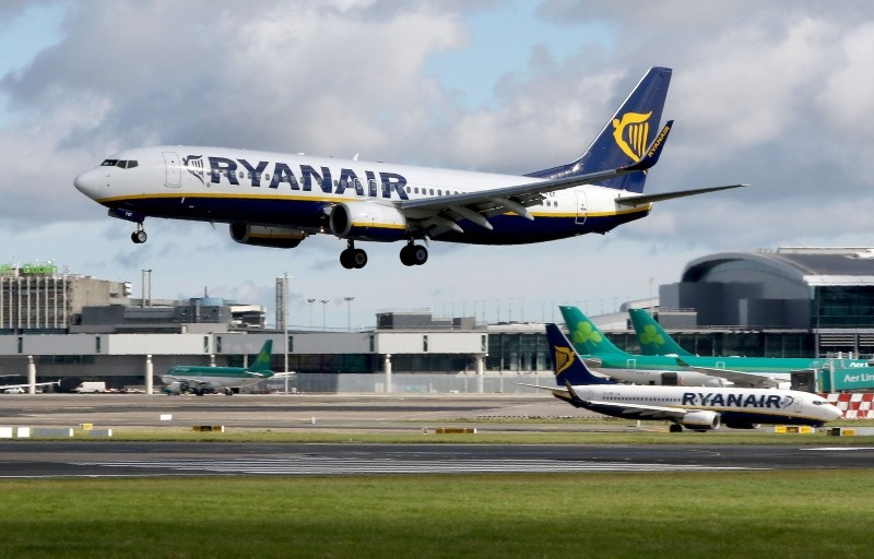 In this file photo taken on September 21, 2017 A Ryanair plane lands at Dublin Airport on September 21, 2017. (AFP Photo)