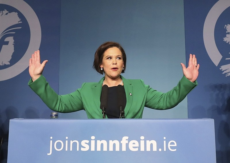 Mary Lou McDonald acknowledges the applause of delegates after she was elected as Sinn Fein's president at the party's special conference at the RDS in Dublin, Ireland, Saturday Feb. 10, 2017 (AP Photo)