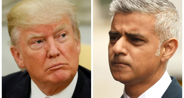 A combination photo shows Trump (L) in the Oval Office at the White House in Washington, DC, U.S. on May 31, 2017 and Mayor of London Sadiq Khan at the scene of the attack on London Bridge and Borough Market in central London. (REUTERS Photo)